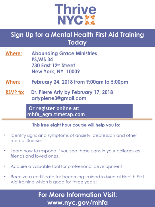 Thrive Nyc Mental Health Training At Agm Abounding Grace Ministries